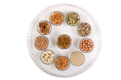 Mixed dry fruits in glas bowl Royalty Free Stock Images