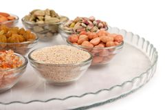 Mixed dry fruits in glas bowl Stock Photography