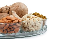 Mixed dry fruits in glass bowl Stock Images