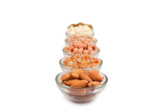 Mixed dry fruits in glass bowl Royalty Free Stock Image