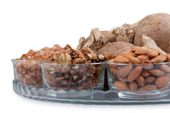Mixed dry fruits in glass bowl Stock Photography