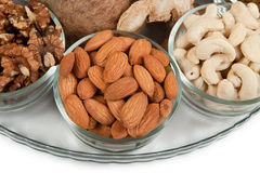 Mixed dry fruits in glass bowl Stock Photo