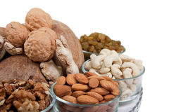 Mixed Dry Fruits In Glass Bowl Stock Photos