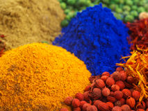 Mixed dyes and spices stock photography