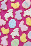 Mixed Easter cookies. With bunnies, lambs, eggs and chicks Royalty Free Stock Photos