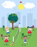 Mixed ethnic children. Mixed etnic boys and girls playing tennis Stock Photo