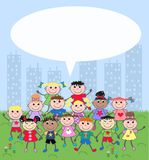 Mixed ethnic children. A group of mixed ethnic children with a big speec bubble Stock Photography