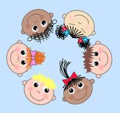Mixed ethnic children. A illustration of happy mixed ethnic boys and girls Royalty Free Stock Photos