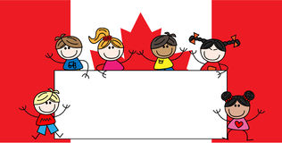 Mixed ethnic children canadian flag stock image