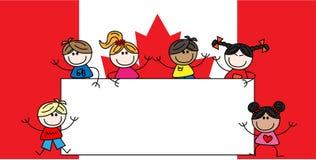 Mixed ethnic children canadian flag Stock Image