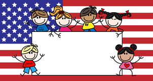 Mixed ethnic children american flag stock photography