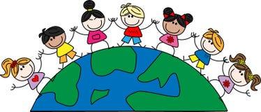 Mixed ethnic children. Freedom peace friendship vector illustration