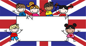 Mixed ethnic children british flag royalty free stock photography