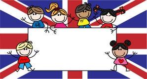 Mixed ethnic children british flag Royalty Free Stock Photography