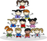 Mixed ethnic happy children.  Royalty Free Stock Images