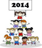 Mixed ethnic happy children 2014.  Stock Images
