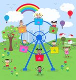 Mixed ethnic kids. Illustration of mixed ethnic kids on tivoli Royalty Free Stock Image
