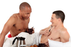 Mixed ethnicity  gay couple Royalty Free Stock Photo