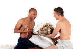 Mixed ethnicity gay couple. Attractive young mixed ethnicity gay, homosexual couple, Caucasian and African American men in the bedroom, grooming, celebrating Royalty Free Stock Photography