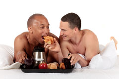 Mixed ethnicity gay couple Stock Image