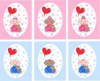 Mixed etnic babies. Six newborn cards with mixed ethnic babies Stock Photos