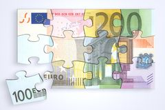 Mixed Euro Notes Puzzle with Separate Piece Royalty Free Stock Photos