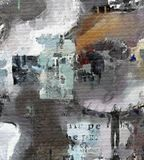 Mixed feelings. Complex abstract painting. Text, brush strokes, men`s silhouette and clock face Stock Image