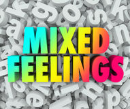 Mixed Feelings Emotions Complex Letter Jumble Background. Mixed Feelings words in colorful 3d words on a background of jumbled letters in a pile to illustrate Royalty Free Stock Images