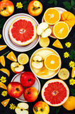 Mixed festive colorful tropical and citrus fruit sliced over bla Stock Photography