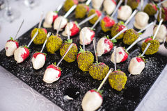 Mixed fingerfood canapes on appetizer table Royalty Free Stock Photography