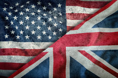 Mixed Flags of the USA and the UK. Union Jack flag.Flags of the USA and the UK Divided Diagonally.  Royalty Free Stock Images