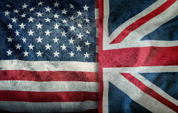 Mixed Flags of the USA and the UK. Union Jack flag.Flags of the USA and the UK Divided verically royalty free stock photo