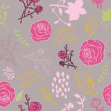 Mixed florals on muted pink background pattern vector illustration