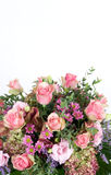 Mixed flowers background. Mixed flowers arrangement with white copyspace stock images