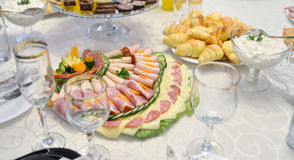 Mixed food ona a table Royalty Free Stock Images
