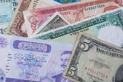 Mixed Foreign Money bank notes background Stock Image