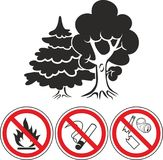 Mixed forest and prohibiting signs icons. Flat style thin line, outline icon of mixed forest, park, trees Stock Photography