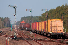 Mixed freight train Royalty Free Stock Images
