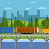Mixed freight train within urban landscape Stock Image
