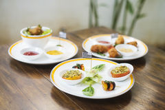 Mixed french brittany fusion tapas snack starters Royalty Free Stock Photo