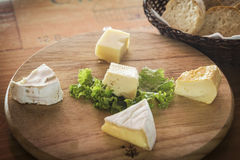 Mixed french cheese platter with bread Stock Photo