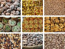 Collection of fresh and dried fruit. Mixed fresh, dried, and dried fruits photos Stock Photography