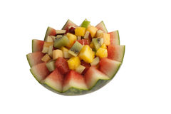 Mixed fresh fruit. Variety of fresh fruit served in a watermelon Stock Images