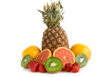 Mixed Fresh Fruits. Mixed fruits on white background stock image