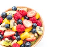 Mixed fresh fruits (strawberry, raspberry, blueberry, kiwi, mang. O) on white background Stock Photo