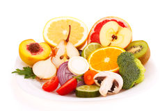 Mixed fresh fruits and vegetables Stock Images