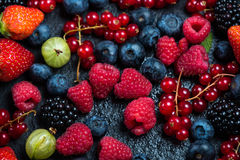 Mixed fresh ripe berries background Stock Photography
