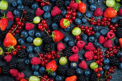 Mixed fresh ripe berries background Royalty Free Stock Photography