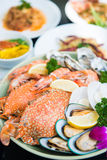 Mixed fresh seafood on dish royalty free stock photography