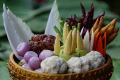 Mixed fresh vegetables on bamboo basket Stock Images